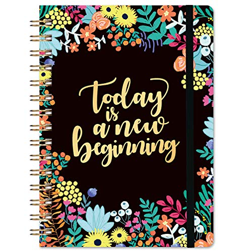 """Notebook/Journal - Spiral Lined Notebook/Journal, 6.3"""" × 8.35"""", Hardcover, Back Pocket, Elastic Closure, Strong Twin-Wire Binding with Premium Paper"""