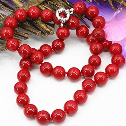 KUQIQI Las Mujeres declaración de Manera Artificial Cuentas de Coral de 10 mm de Piedra roja Gargantilla Collar de Cadena de clavícula Joyas 18inch