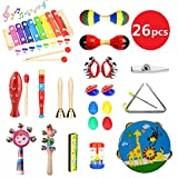 HapeeFun 26pcs Musical Instruments Toddlers Wooden Percussion Instrument Toys Gift for Baby, Child