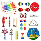HapeeFun 26pcs Musical Instruments ToddlersWooden Percussion Instrument Toys Gift for Baby, Child & Toddler with Storage Backpack