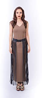 Opera Mixed Materials Straight Dress for Women, Brown - 1712201