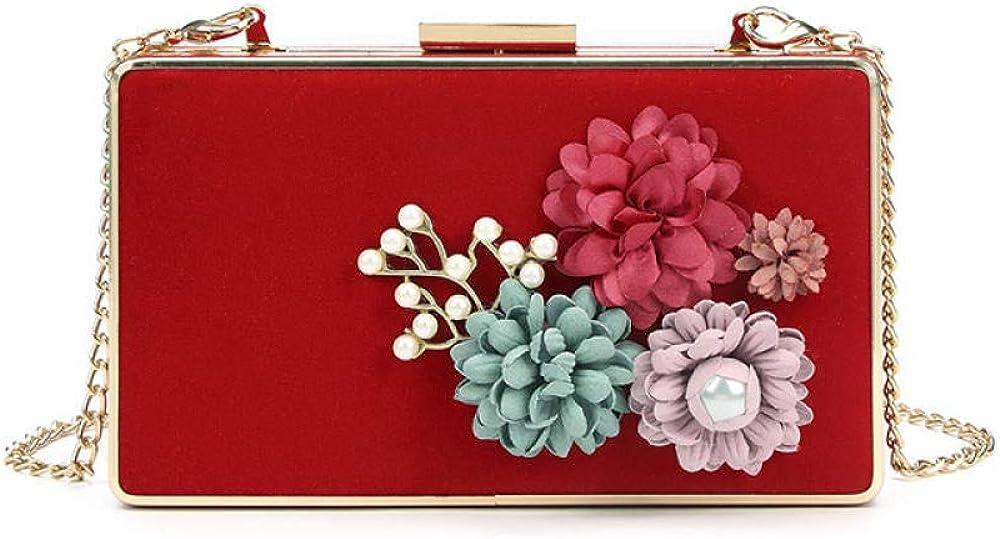 Women's Dinner Clutch Bag Girls Satin flowers Clutches Purses Bags Evening Wedding Handbag Purse Bag