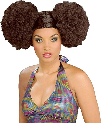 Forum Novelties Women's Disco Fever 70's Afro Puff Wig, Brown, One Size