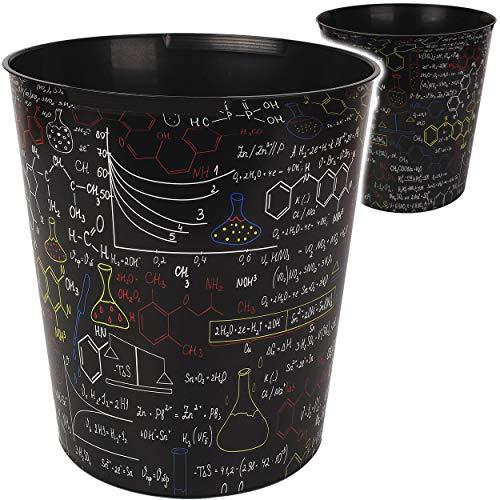 Papierkorb / Behälter - Schule & Universität - Formeln - Chemie Elemente - 10 Liter - wasserdicht - aus Kunststoff - Ø 28 cm - großer Mülleimer / Eimer - Abfa..