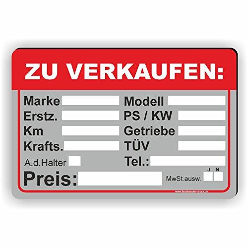 Fassbender-Druck SCHILDER Auto Verkaufsschild - Schild/D-033 (30x20cm Schild)