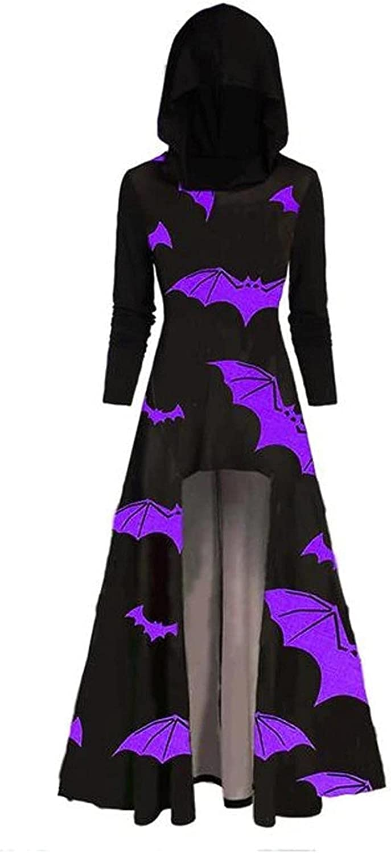 Womens Vintage Hoodies Cloak Halloween Printed Punk Style Long Sleeve Plus Size Long Hooded Blouse Shirts Dress