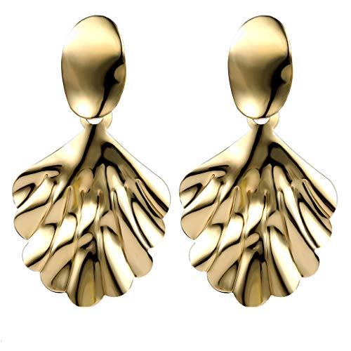Minshao - Pendientes de cristal para mujer, diseño de hojas simples exageradas dorado dorado