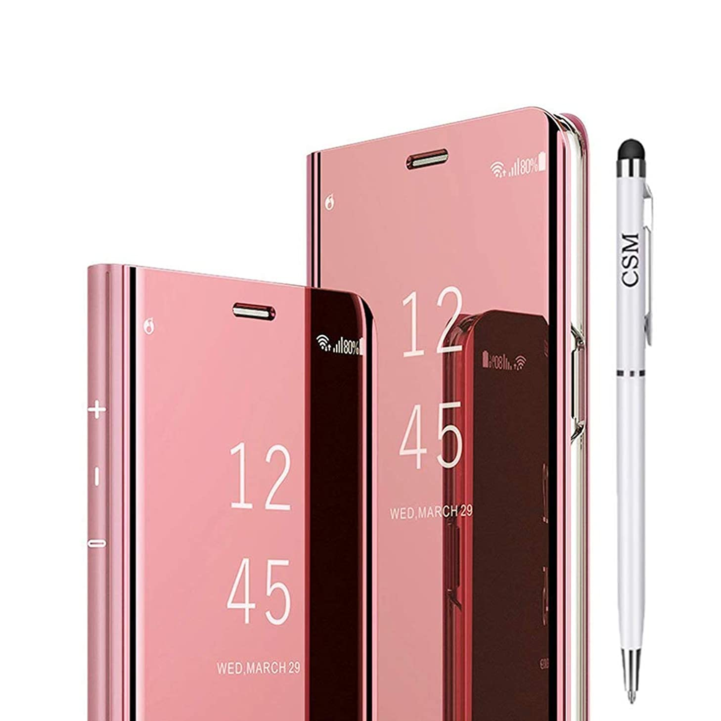 Galaxy Note 9 Mirror Flip Case, Luxury Electroplate Plating Kickstand Case Smart Clear View Cover with Screen Protector Full Coverage Flexible Film for Samsung Galaxy Note 9-(Rose Gold)