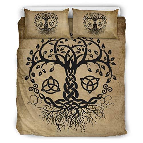 DAMKELLY Store Colcha vikinga 01, hipoalergénica y suave, 3 piezas, 1 funda nórdica y 2 fundas de almohada, lavable a máquina, color blanco, 229 x 229 cm