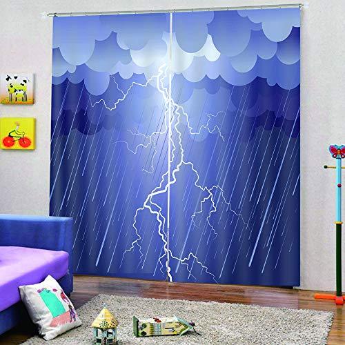 QRTQ 3D prachtige bedrukte gordijnen met regennet, blikdicht, 220 x 215 cm, set van 2 gordijnen voor slaapkamer en woonkamer