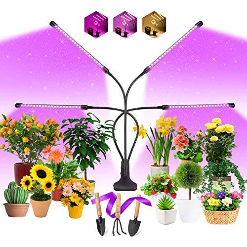 EWEIMA Lámpara de Planta, 80 Leds Lampara de Cultivo 4 Cabezales Espectro Completo Grow Light, Lámpara de Crecimiento Ledcon Temporizador 4/8/12H y 3 Modos de Luz, para Jardinería Bonsai