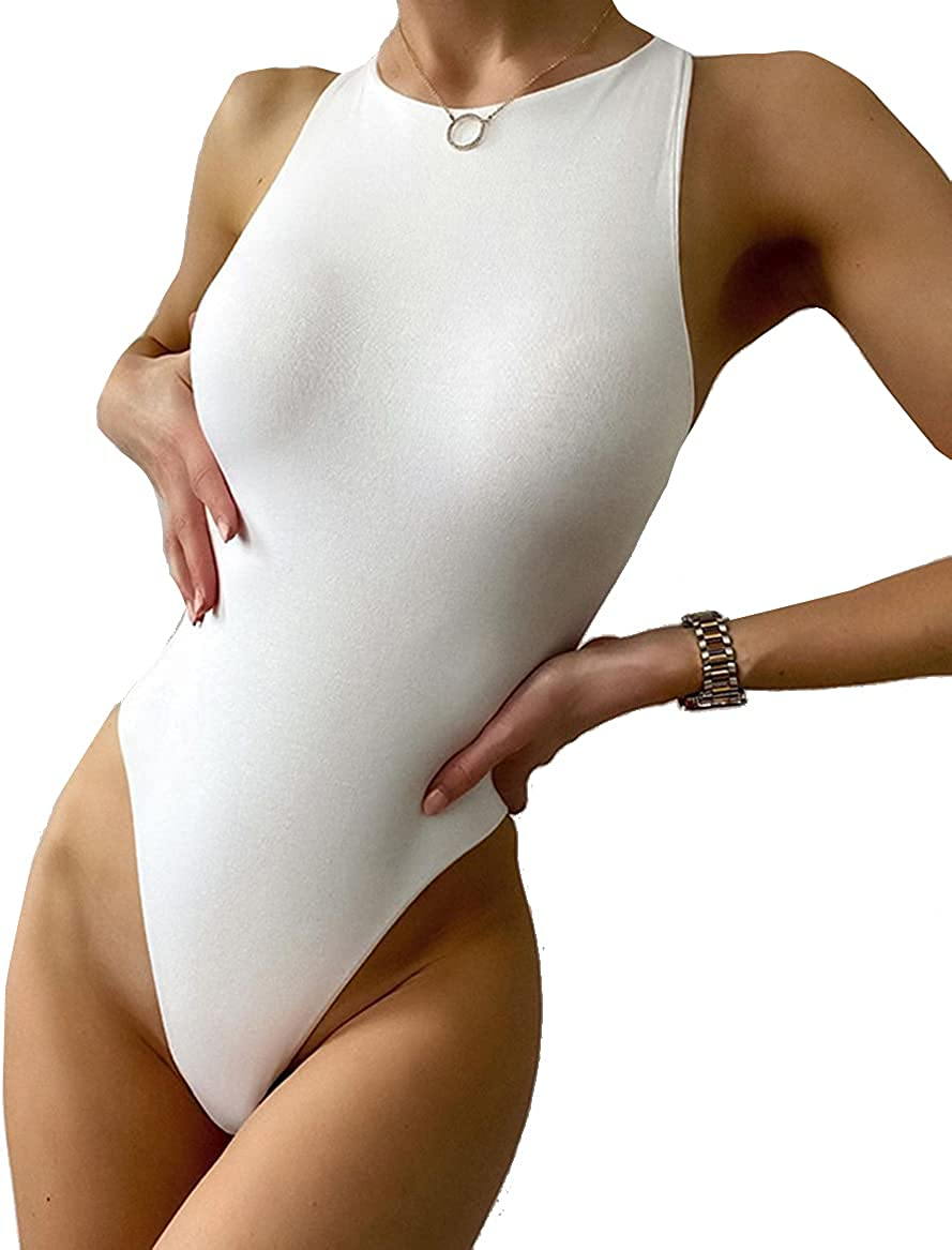 PALINDA Women's Sexy Sleeveless Halter Neck Thong Bodysuit Hollow Out Backless Basic Tank Top