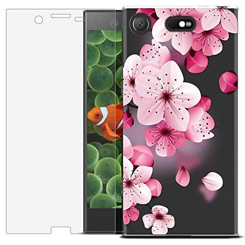 MadBee Coque Compatible avec Sony Xperia XZ1 Compact [avec Verre Trempé],Motif Design Silicone Transparente Ultra Mince TPU Souple Housse Etui de Protection Anti Rayures (Fleur 3)