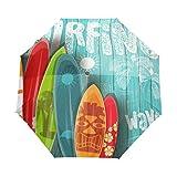 SUHETI Ombrello Portatile,Muro di tetto in legno di graffiti e tavola da surf a sei colori,Ombrello Pieghevole Automatico Antivento