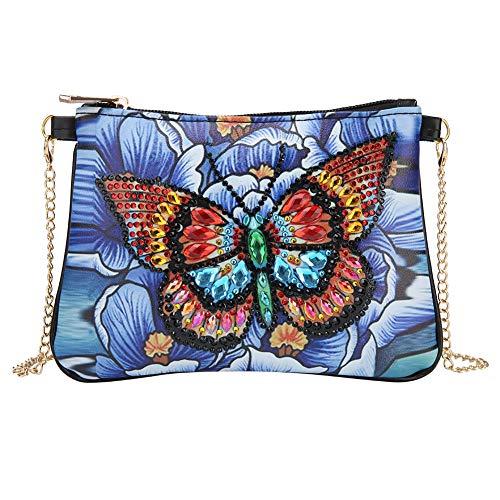Domybest schoudertas voor dames, DIY, 5D, diamond painting, portemonnee, leer, portefeuille, damestas, schoudertas, ketting, kleine handtas, knutselen Papillon et fleurs bleues
