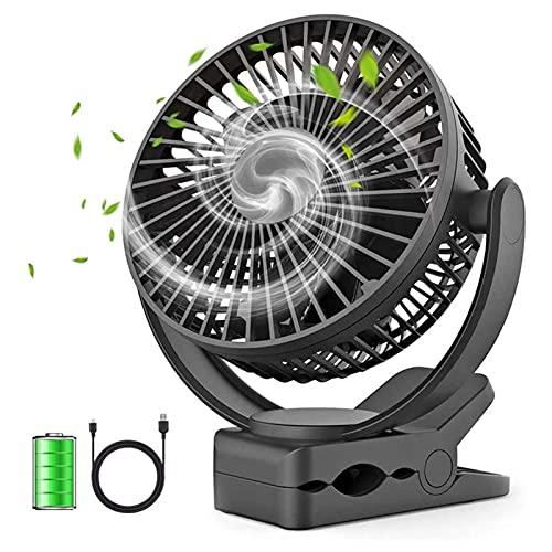 ZXQC Clip En El Ventilador De Cochecitos, Ventilador De Escritorio Portátiles De 5000 MAh, Ventilador De Rotación De 360 °, Ventilador Personal De USB para Cochecito De Campo para Acampar