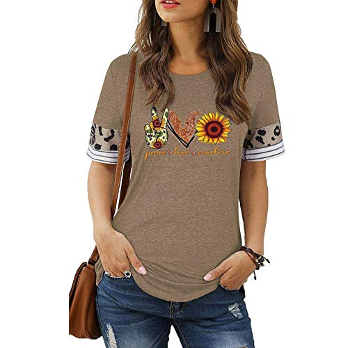 Women Sunflower and Gesture Printed Tops Short Sleeve Fashion Pattern Breathable Material Pullover Tops Creativity T-Shirt Contrast Cuffs Easy Blouse Elastic Loose Ladies Blouse (Khaki, S)