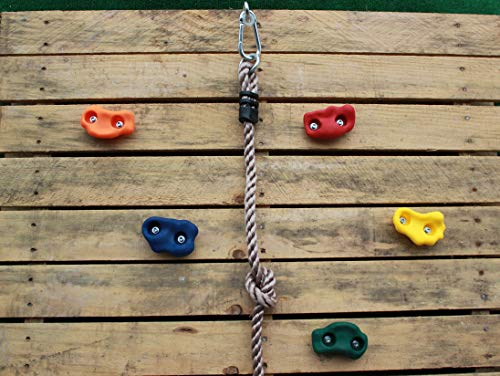 Jungle Gym Kingdom Rock Wall Climbing Holds Kit - 25 Piece Indoor or Outdoor for Kids Play Set - DIY Ninja Obstacle Course Hand Hold Kid Grip Accessory - 8 Foot Knotted Rope - Children Playground Wall