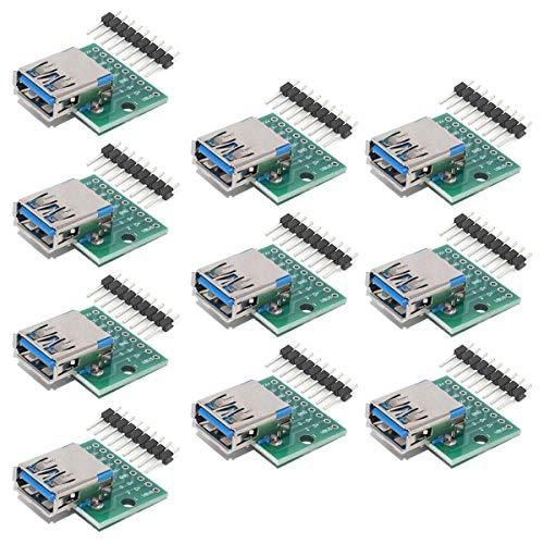 YOUMILE 10Pcs DIY Conector macho/MINI MICRO USB a adaptador DIP 2.54mm Conector hembra de 5 pines Tipo B USB2.0 Convertidor PCB hembra USB 3.0