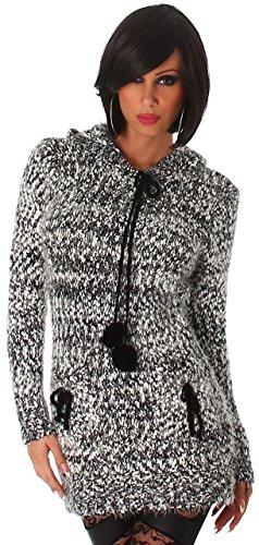 Jela London Damen Strickkleid & Pullover flauschig mit Kapuze Einheitsgröße (34-40), schwarz