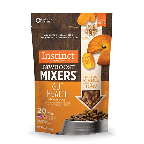 Instinct Freeze Dried Raw Boost Mixers Grain Free Gut Health Grain Free All Natural Dog Food Topper by Nature's Variety, 5.5 oz. Bag