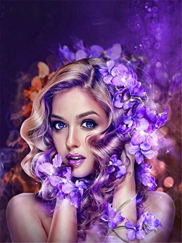 New 5D Diamond Painting Kits for Adults Kids, Awesocrafts Girl with Purple Garland Full Drill DIY Diamond Art Crystal Rhinestone Paint by Diamonds Cross Stitch (Girl)