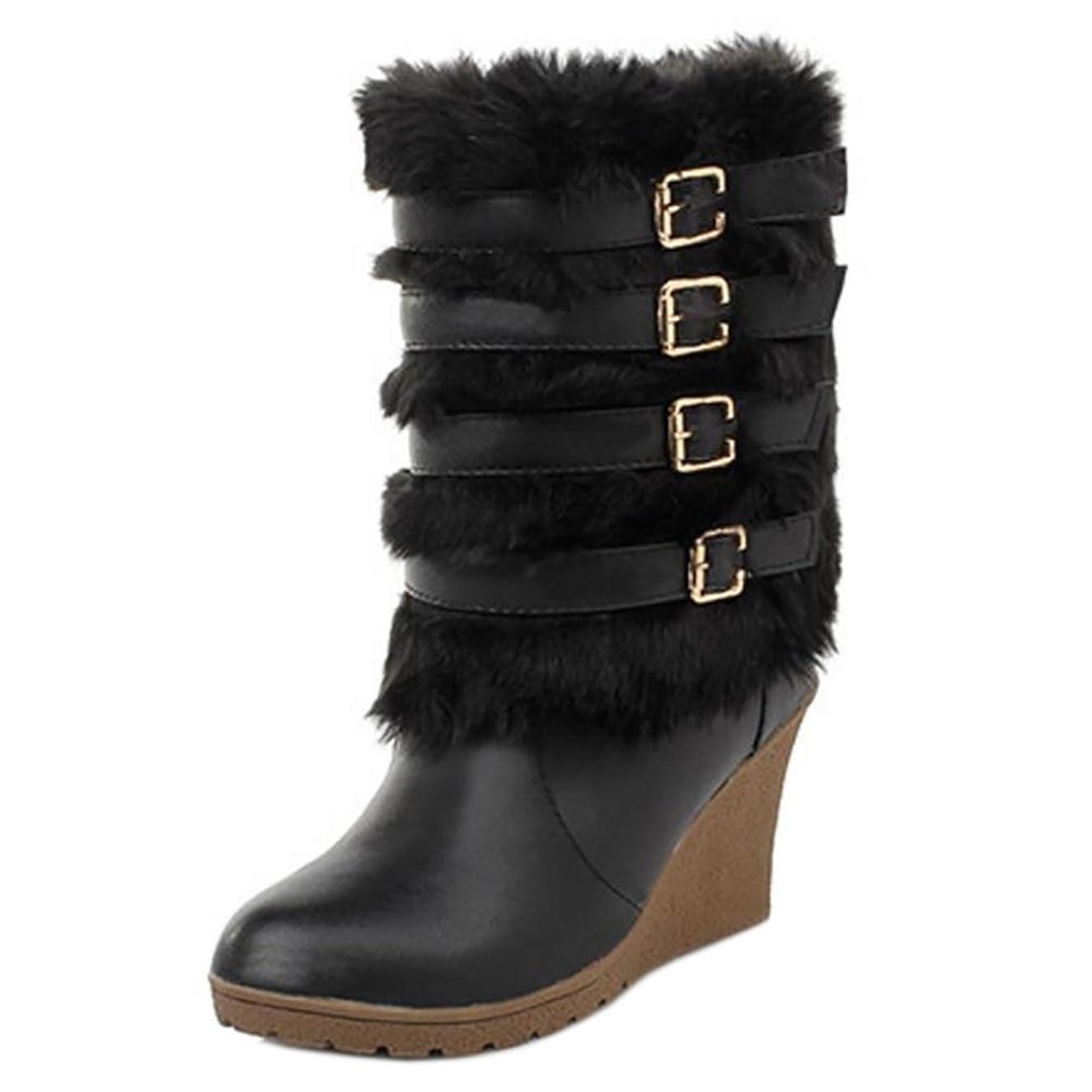 回路アロング迷惑[FANIMILA] レディース ファッション ウェッジ ブーツ ベルト付き 防寒 ショートブーツ