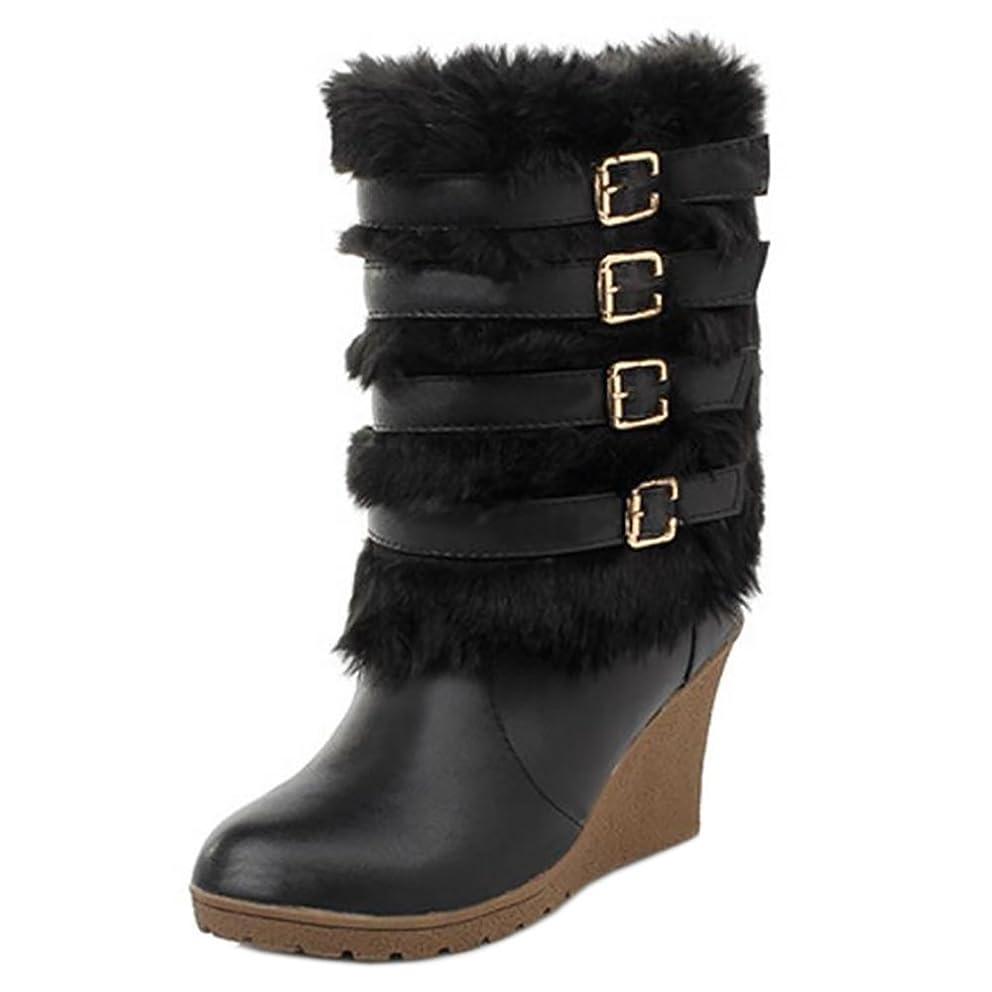 秘書短くする抽出[FANIMILA] レディース ファッション ウェッジ ブーツ ベルト付き 防寒 ショートブーツ