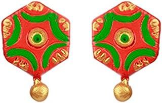 Terramart_ Handmade Terracotta Earring Set_Fashion Jewellery for Women / Girls ( Orange, Green & Gold )