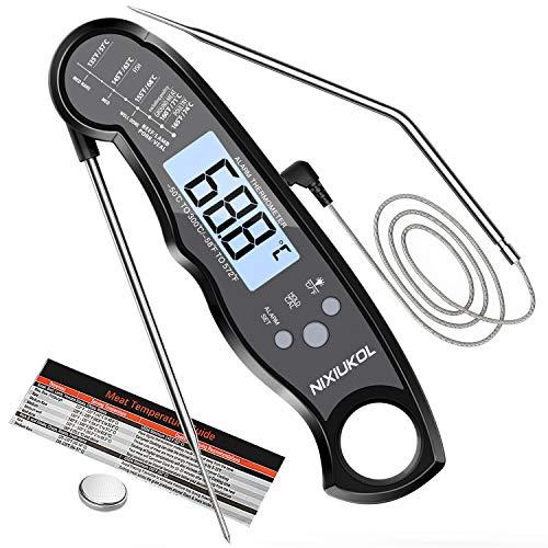 NIXIUKOL Termometro Cucina Digitale Lettura Istantanea Termometro Barbecue con 2 Acciaio Inossidabile Sonda, Display LCD con Controluce, Magnete, Termometro da Cucina per Carne BBQ Latte Olio Forno