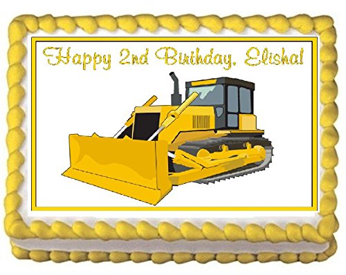 Bulldozer Edible Frosting Sheet Cake Topper - 1/4 Sheet