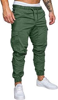 f9632a8f4858 Minetom Pantaloni Uomo Moda Cargo con Coulisse E Tasche Laterali Trousers  Sport Pants Elastici Casuale Maschi