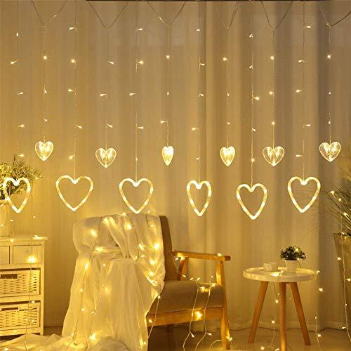 Nicole Knupfer LED Lichtervorhang, 2.5 m 138er Herzen LED Lichterkette, Wasserdichte Lichterketten Deko für Innen und Außen Party Weihnachten Zimmer (Warmweiß)