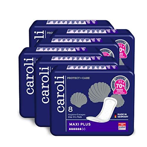 Caroli® Protect + Care Hygiene-Einlagen, Maxi Plus, Vorteilspack (6 x 8 Stück), hautfreundlich und angenehm an der Haut, für Blasenschwäche, Inkontinenz-Einlagen …