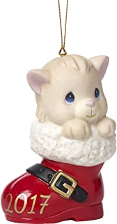 Precious Moments Have A Pawsitively Soleful Christmas Cat In Boot Dated 2017 Bisque Porcelain Ornament 171007