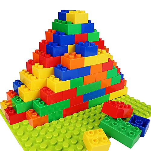 Building Blocks for Kids Toddlers Including a Baseplate, 101-piece Large Classic Building Bricks Set for Kids of All Ages, Basic STEM Toys Gift, Compatible with All Major Brands