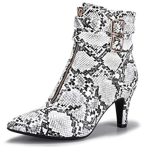 IDIFU Women's Pointed Toe Metal Buckle Two Strap Ankle Booties Side Zipper Kitten Heel Dress Classic Short Boots(Snake White, 7 M US)