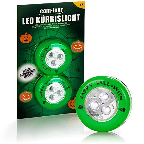 com-four® 2X LED-Licht für Halloween - Blinkende Kürbis LED Lichter für ausgehölte und Geschnitzte Kürbisse - Kürbis-Lampe für Halloween (grün)