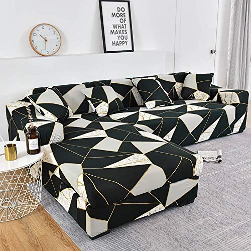 WXQY Fundas Estampadas a Cuadros Funda de sofá elástica elástica protección para Mascotas Funda de sofá Esquina en Forma de L Funda de sofá Todo Incluido A4 3 plazas