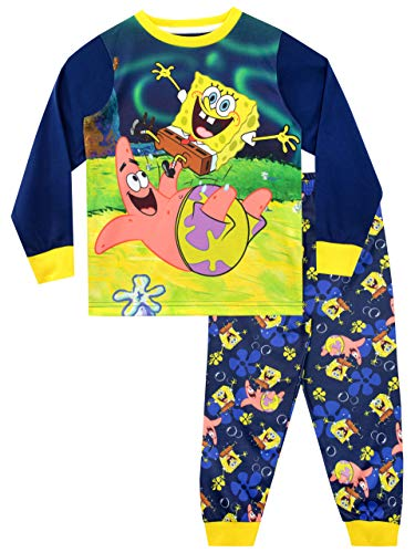 Bob Esponja Pijamas de Manga Larga para niños Sponge Bob Squarepants Azul 5-6 Años