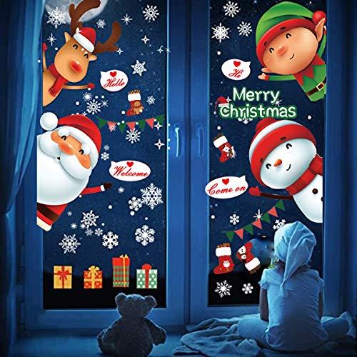 Pegatinas de Navidad, Impermeable, Pegatinas de Navidad monigote de nieve fiesta extraíbles, Hacen que el Hogar esté lleno de Ambiente Navideño,regalo de Navidad (rojo-3)