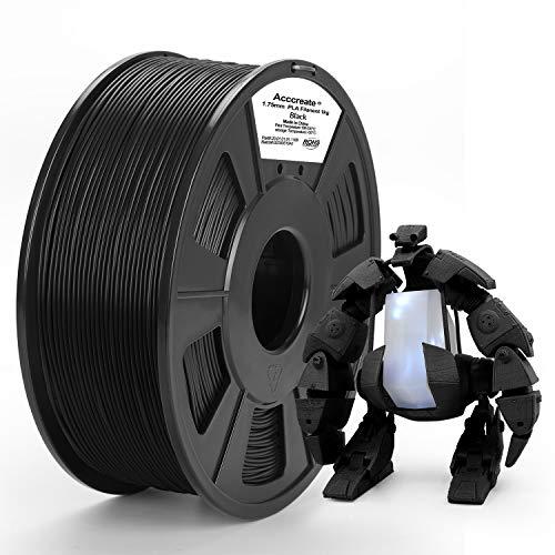 ACCCREATE Filament PLA 1,75 mm, Imprimante 3D Filament Précision Dimensionnelle +/- 0,02 mm, 1 kg (2,2 LBS) Bobine Filament d'impression 3D pour FDM Imprimante 3D, Noir