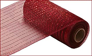 10 inch x 30 feet Deco Poly Mesh Ribbon - Value Mesh (Burgundy, Red Foil)