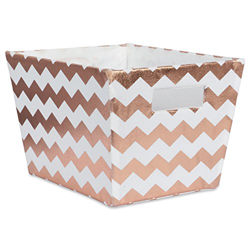 DII Metallic Fabric Trapezoid Storage Container for Nurseries, Offices, Closets, Home D