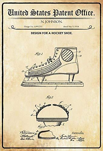 NWFS patent ontwerp voor een hockey – schaats 2 metalen bord metalen bord bord bord metaal Tin Sign gewelfd gelakt 20 x 30 cm