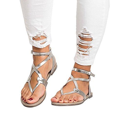 Sandalias Informales con Tiras para Mujer Chanclas Mujer Sandalias Planas, Zapatos de Verano para Mujer, SeñOras Tiras Cruzadas Chanclas Planas Sandalias de Punta Abierta Zapatos Romanos