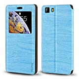 Doogee X5 Case, Wood Grain Leather Case with Card Holder