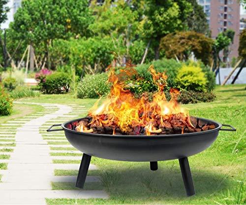 Garden Mile 23' Black Round Iron Fire Pit Log Burner Heater Bowl with Legs Garden Patio Decking Camping BBQ Picnics Entertaining Beach Outdoor Heating Portable Wood Burner