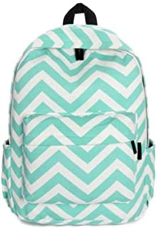 Canvas Backpack Wavy Stripes Design Women Fashion Rucksack Girls Satchel Students School Bag
