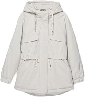 Women's Cotton Coat, Casual Fashion Long Coat, Winter Warm Padded Suit, (Color : White, Size : S)